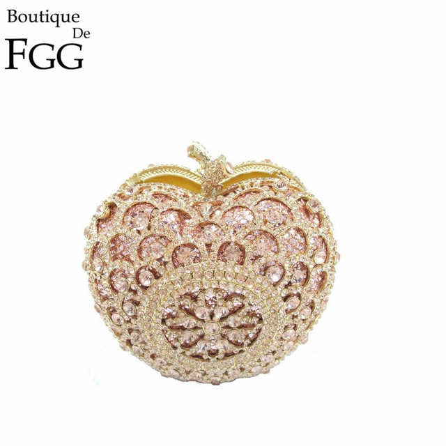 Gift Box Golden Apple Clutch Bag Crystal Evening Bags Women Handbags Rhinestones Clutches Party Handbag Wedding Diamond Purses