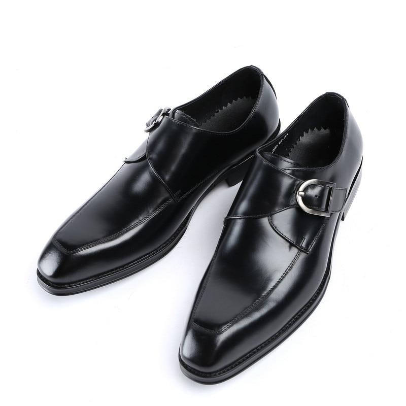 Zapatos Boda Los Genuino Cómodos Hombres Cuero Us10 Hebilla Nuevo Vestir Oficina De Moda Trabajo Tamaño brown Black CqIwTEz