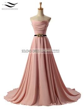 A Line Strapless Pleat Floor Length Long Evening Dresses Beadings Elegant Evening Dress with Sash vestidos de fiesta (SL-E245)