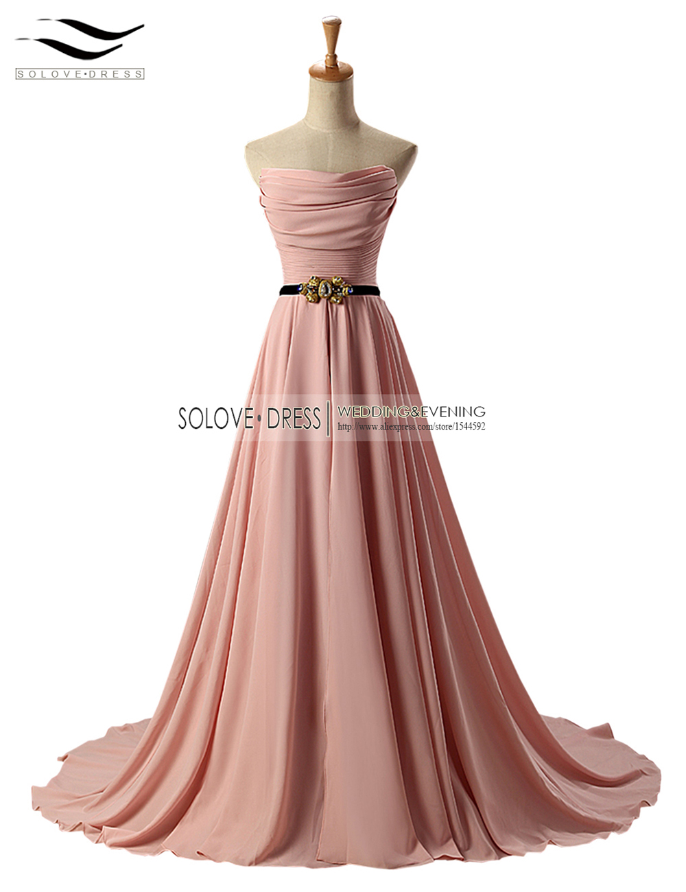 A Line Strapless Pleat Floor Length Long Evening Dresses Beadings Elegant Evening Dress with Sash vestidos de fiesta (SL E245)