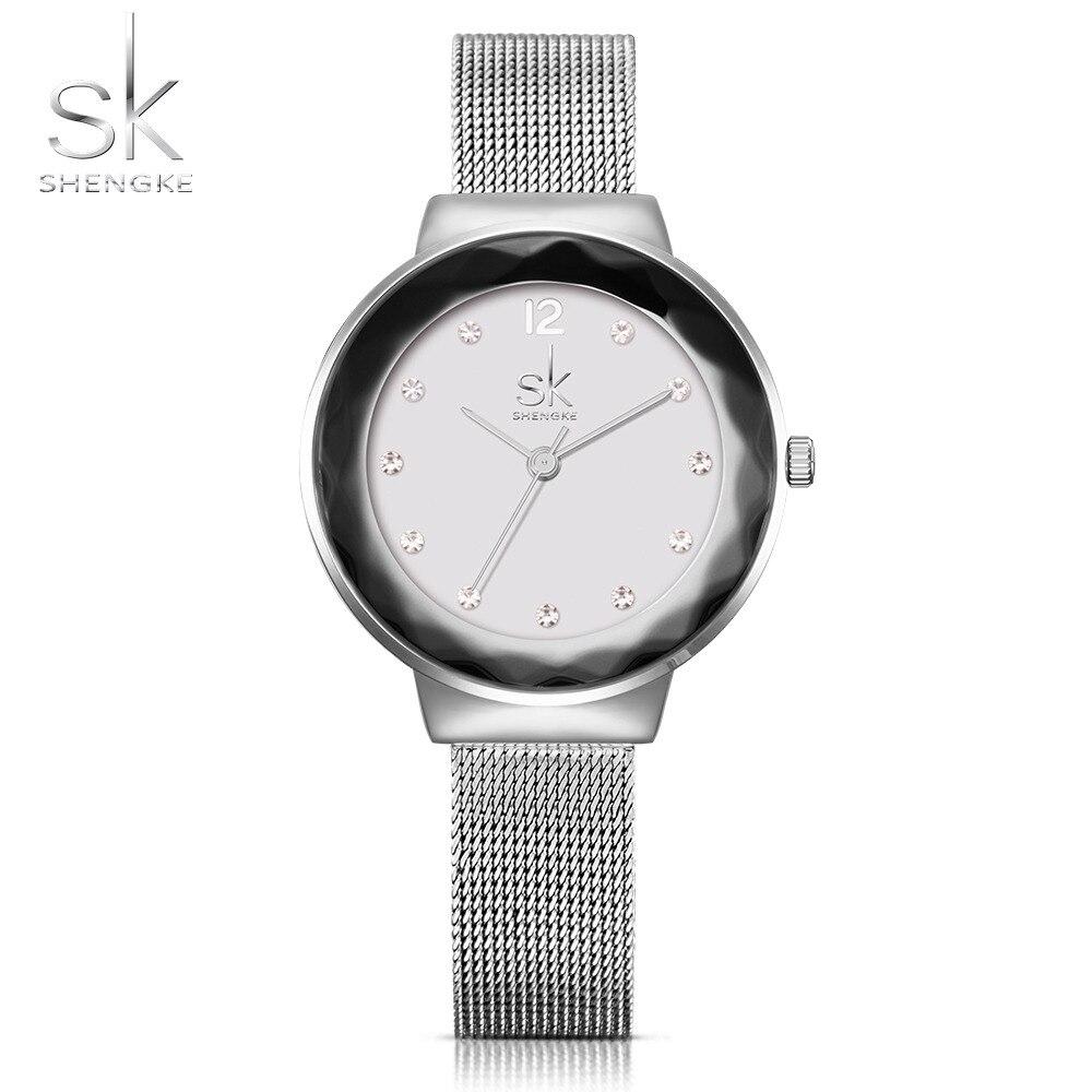 SK New Fashion Women Watches Stainless Steel Silver Wrist Watches Luxury Ladies Rhinestones Clock Quartz Watch