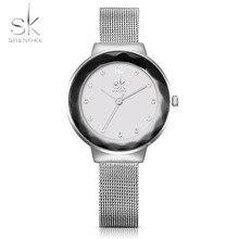 SK New Fashion Women Watches Stainless Steel Silver Wrist Watches Luxury Ladies Rhinestones Clock Quartz Watch 2017 Montre Femme