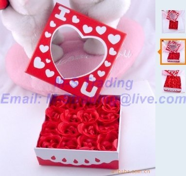 320pcs/lot,Gift Box Rose Soap Flowers,Retail Pack Romantic Rose Soap Flowers,Valentine's/Wedding Gift,Free Shipping, Best Gift