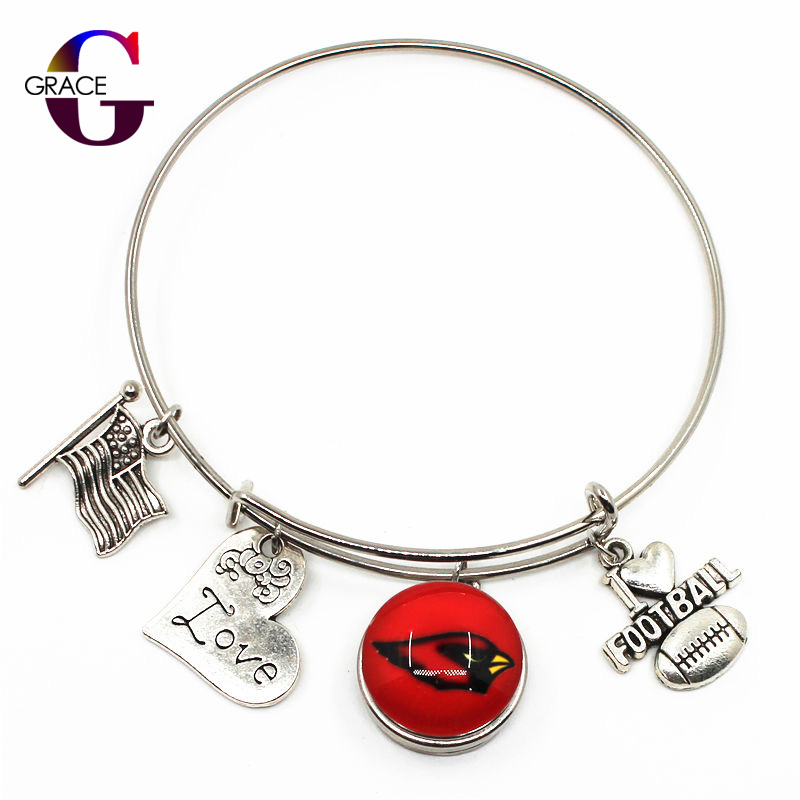 Arizona Cardinals Sports Charms Adjustable I Love Football Expandable Women Bangle Bracelets With Ginger Snaps Buttons Jewelry