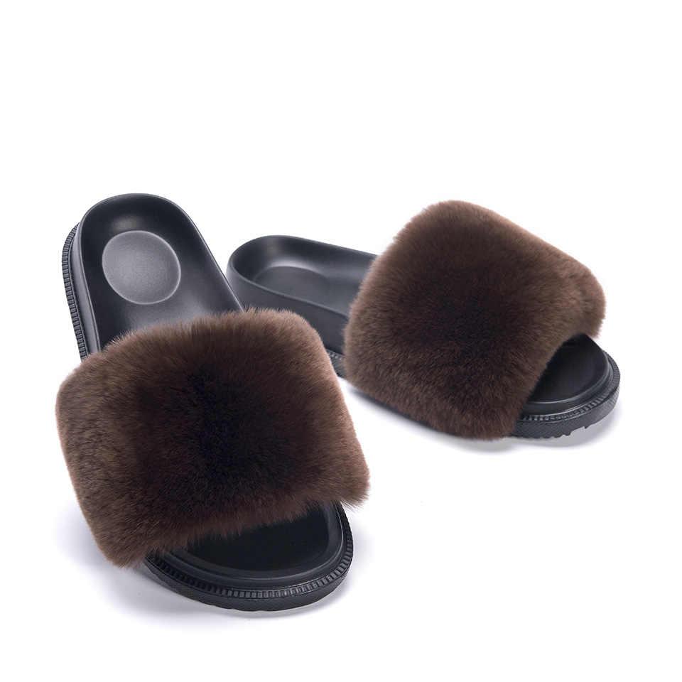 Новые тапочки с кроличьим мехом для детей, домашние шлепанцы с мехом для девочек, пушистые летние домашние тапочки с мехом енота для детей