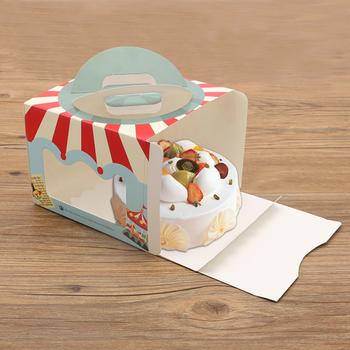 50pcs/lot Circus Series Portable Cake Box, Window Paper Box,Gift Packaging Boxes for Cupcakes,Candy and Biscuit