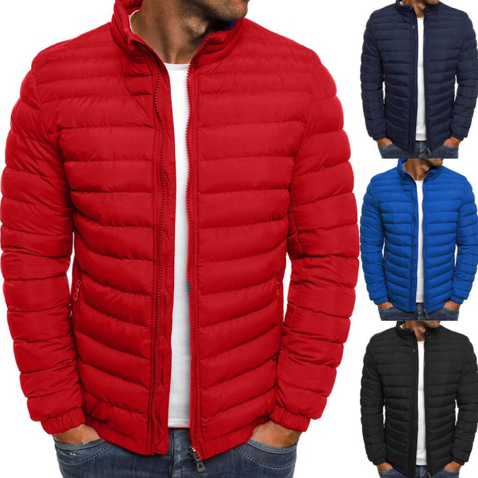 Zogga Men   Parka   Puffer Cotton Coat Winter Mens Jackets Coats Pure Color Plus Size Cotton Zipper Streetwear Casual Overcoat Men