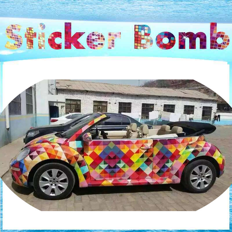 Hot Euro Style Colorful Sparkle Rainbow StickerBomb Vinyl Wrap With Air Bubble Free For Car Wrapping Decals Sticker Bomb Film - 2