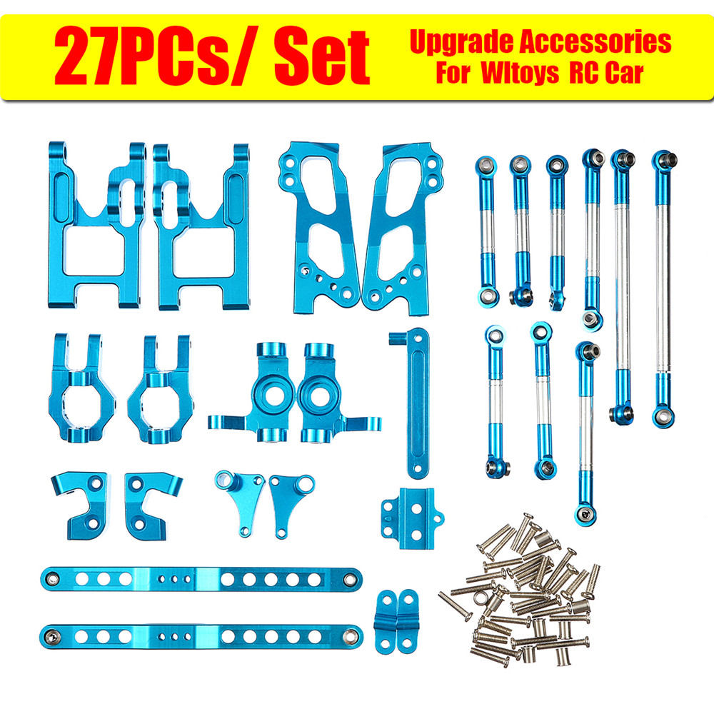 27Pcs Upgrade Accessories Set For Wltoys 12428/12423 Feiyue FY01/FY02/FY03/12 RC Car Blue Perfect Replacement Spare Part Metal feiyue fy01 fy02 fy03 medium gear box assembly part