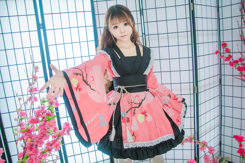 Shanghai histoire coton fleur impression dentelle bord Kimono Yukata robe de chambre Anime Lolita ensembles Meidofuku uniforme tenue - 5
