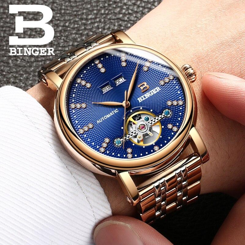 Suisse BINGER Hommes Montre de luxe de diamant Complet en Acier inoxydable sapphire qualité Supérieure Mécanique Hommes Horloges B-1173-6
