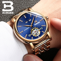 Switzerland BINGER Men's Watch luxury diamond Full stainless Steel sapphire Superior quality Mechanical Men Clocks B 1173 6