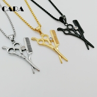 HipHop Iced Out Stylist Beautician Necklace 316 Stainless Steel Scissor Comb Pendants Necklaces For Men Jewelry