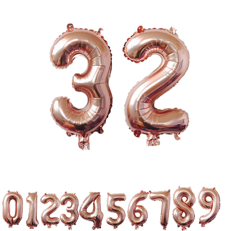 32/40 Inches Rose Gold Number Foil Balloons Large Digit Helium Balloons Wedding Decorations Birthday Party Supplies Baby Shower
