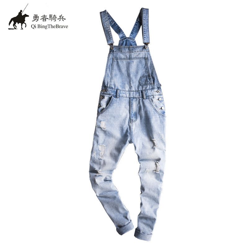 New Mens Cotton Denim light blue ripped Jumpsuit Bib Overall Jeans Men Fashion Casual Male Denim Jumpsuit Long Trousers 071402 denim overalls male suspenders front pockets men s ripped jeans casual hole blue bib jeans boyfriend jeans jumpsuit or04