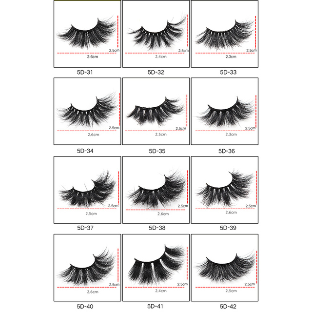 1 Pair 25mm False Eyelashes Thick 5D Mink Lashes Makeup Dramatic Long Lashes @ME88 1