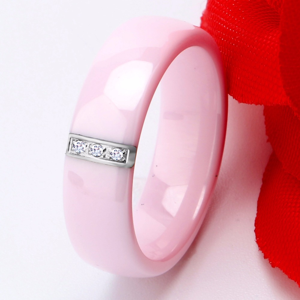 2017 6MM Pink Ring Women Crystal Stainless Steel Ceramic Engagement ...