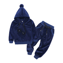 цена на Children Clothing Boys Sets Velvet Long Sleeved Hoody+Pants 2 Pcs Toddler Girls Clothes Kids Tracksuit Suits 1 2 3 4 5 6 7 Years