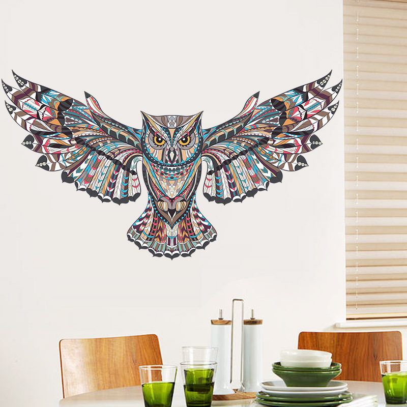 mysterious owl animal pvc wall stickers for kids room eagle hawk painted tatoo home decor wall art diy removeable decals gift