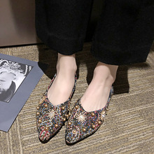 Women Sexy Flat Shoes 2019 New Spring Summer Rivets Shallow Mouth Ladies Shoes Fashion Pointed Toe Low Flats цена 2017