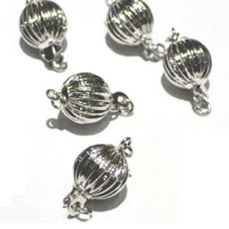9mm 14K White Gold Corrugated Ball Shaped Clasp