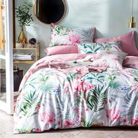 2019 Pink Flamingo Leaves Duvet Cover Set Luxury Egyptian Cotton Fabric Bedlinens Queen Size Bedding Set Bedsheet Bedspread