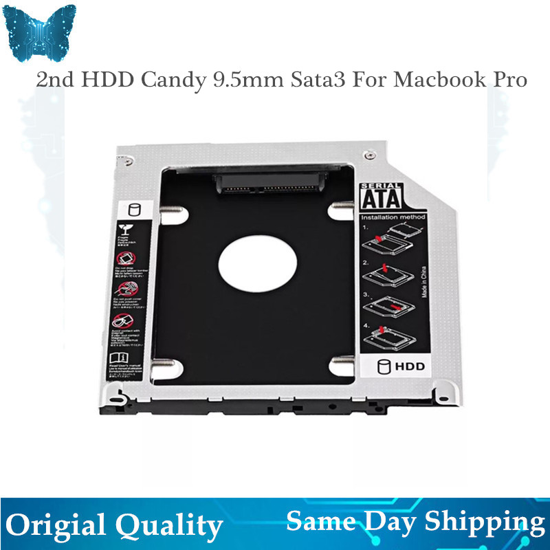 "5pcs/lot New 2nd HDD Caddy 9.5mm SATA 3.0 SSD Case for Macbook Pro Unibody 13"" 15"" 17"" A1278 A1286 A1297 HDD Enclosure(China)"