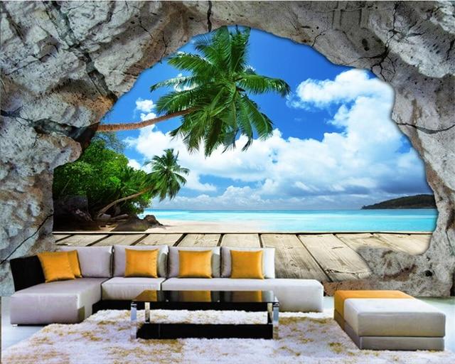 Beibehang Custom Wallpaper Wall Cave Stone Beach Sea View Stereo
