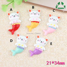 Cartoon Mermaid Resin Cabochons 10 pcs 34 mm Cute DIY Accessories Finding for Phone Decoration, Crafts Making