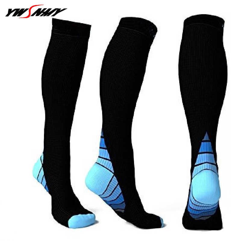 Мужские и женские Компрессионные носки дышащие давления тираж анти-fatigu  колено высокие ортопедические поддержки Стретч f1fb519c603