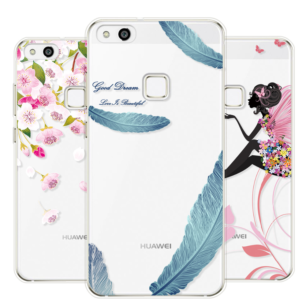 For Huawei P8 lite 2017 Case Silicon Transparent Soft Painted Fashion Cute Gril Feather Case For Huawei P10 lite Phone Cases