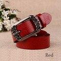 [HIMUNU] Высокое Качество Коускин Пояса для Женщин Натуральной Кожи Джинсы Кожаные Ремни Печати Цветочный Pin Пряжки Поясов Женщин