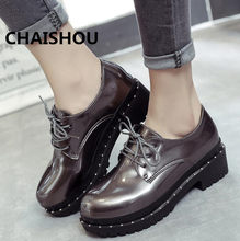 CHAISHOU 2019 Hot Sale Women Shoes Leather Oxford Shoes black lace-up For Flats  Shoes Woman Ballet Zapatos Mujer B-49 c7435842a6d4