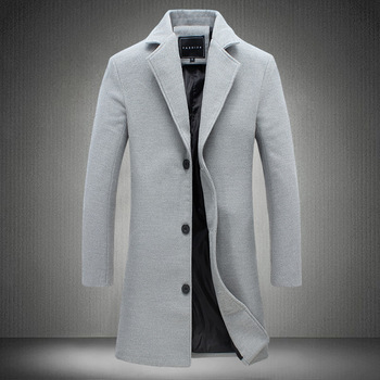 2020 Autumn and Winter New Mens Solid Color Casual Business Woolen Coats / Mens High-end Brand Slim Long Woolen Coat Male Jacket