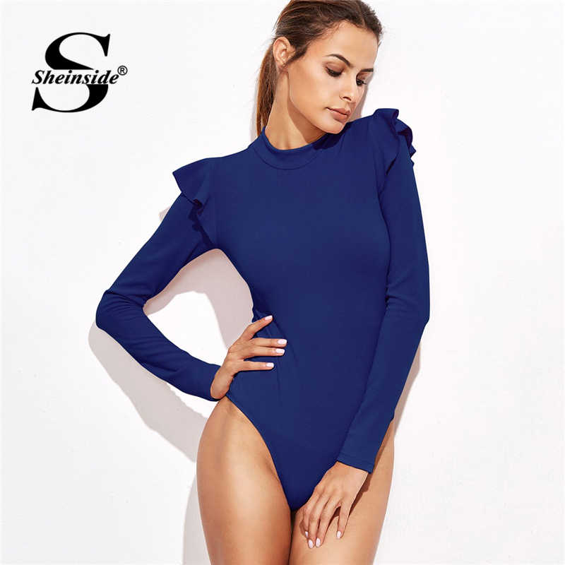Sheinside bleu faux cou Frill détail texturé body femmes vêtements à manches longues body 2018 taille moyenne dames Sexy body