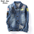 Women'S Boyfriend Loose Plus Size Patchworked Patches Pattern Denim Jacket 4Xl 5Xl 6Xl Lady'S Hole Ripped Coat Female Outerwear