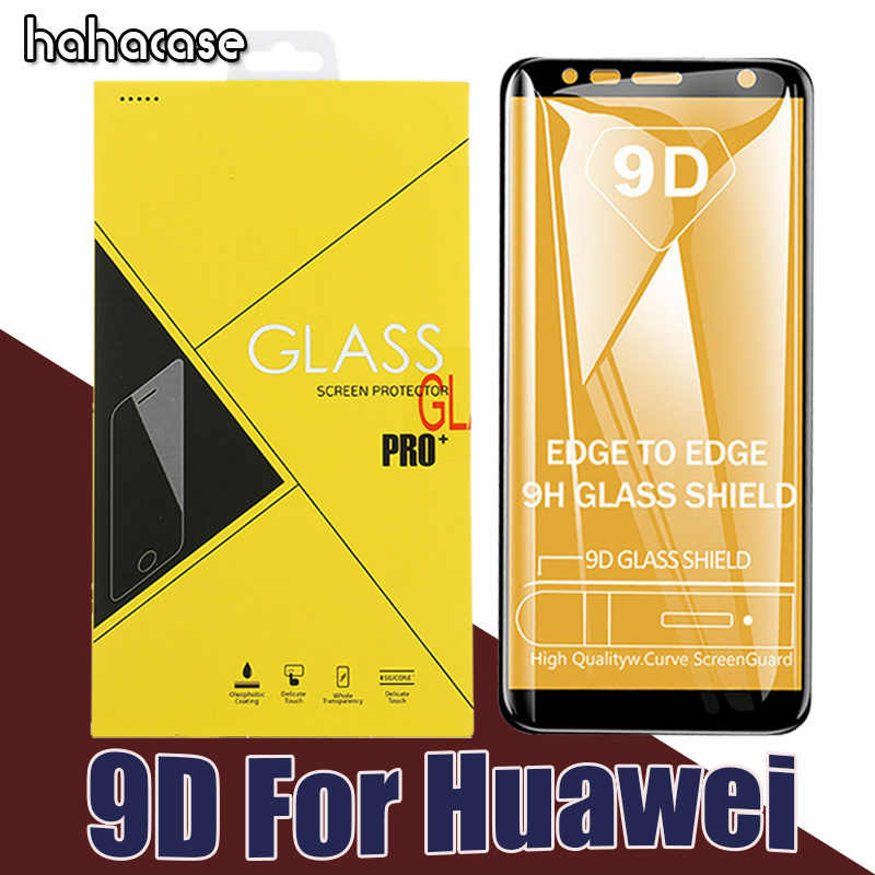 50pcs 9D Curved Tempered Glass Screen Protector Foe Huawei Honor 10 9 8 Lite V10 9 9i 8 8X Max Full Coverage With Yellow Box