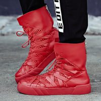 British Hip Hop Gold Color Famous Justin Dance Shoes Fashion Kanye Bieber Boots High Top Trainers