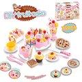 Conjunto de Panelas de Frutas Bolo de Aniversário DIY Bolo de Frutas 75 pçs/set Crianças Pretend Play Brinquedos Cozinha Set Toy Kids Educacional Assemblage