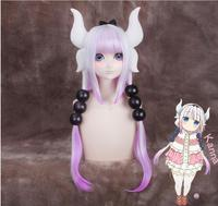 2017 Kobayashi San Chi No Maid Dragon Kamui Kanna Wigs Gradient Cosplay Peluca Hair Ornaments Horns