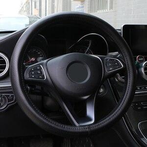 Image 2 - De cuero genuino protector para volante de coche ondulado las líneas de diseño universal de gel de sílice de dirección de la rueda de trenza de la serpiente PATRÓN DE LA PIEL La