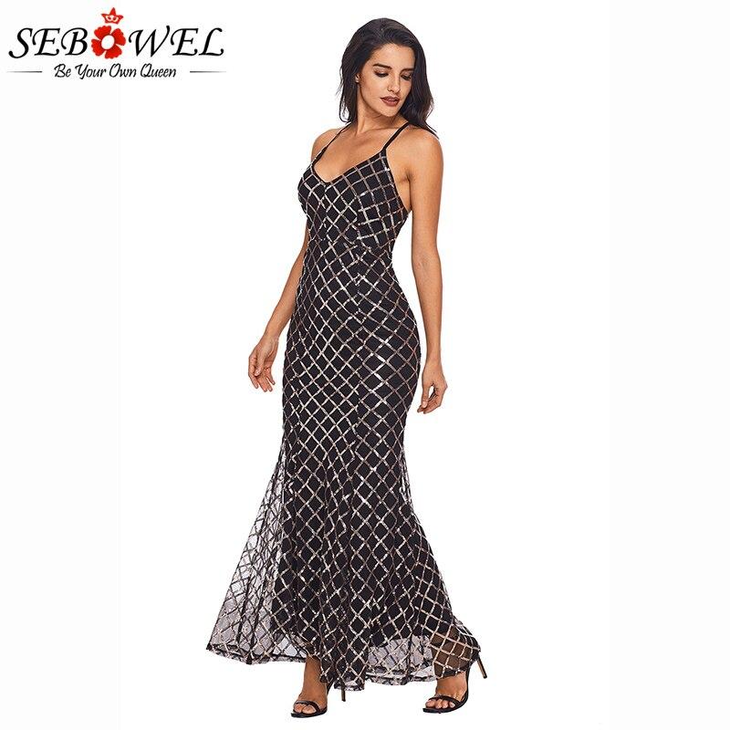 SEBOWEL 2018 NOVA Preto Lantejoulas de Ouro Vestido de Festa Mulheres Sexy Spaghetti Strap Bodycon Maxi Vestidos De Noite Femme Vestidos De Fiesta