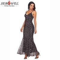 SEBOWEL 2018 NEW Black Gold Sequins Party Dress Women Sexy Spaghetti Strap Bodycon Maxi Dresses Femme
