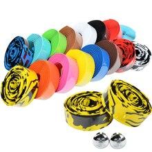 Cinta de manillar de bicicleta de carretera cinta de camuflaje para ciclismo con mango de corcho con tapones de barra 17 colores FZE001