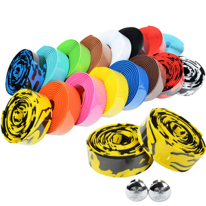 Road Bike Bicycle Handlebar tape Camouflage Cycling Handle Belt Cork Wrap with Bar Plugs 17 Colors FZE001(China)