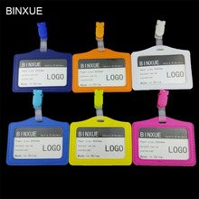 BINXUE Cover Card & ID Holders,Work card identification tag badge Multi color plastic clip Customizable LOGO