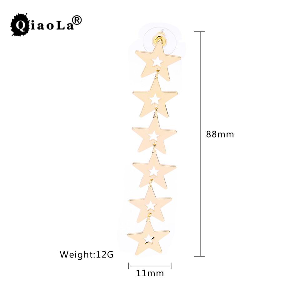 Qiao La Korean Fashion Jewellry Sea Beach Pentagram Star Long Dangle Earrings For Women Boucle DOreille Pendientes For Girls