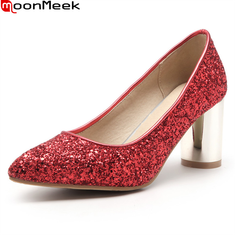 MoonMeek new arrive spring summer female pumps high heels pointed toe square heel shallow party wedding pumps women shoes gold chain party 2017 spring summer casual shallow slip on square toe bling square heels women pumps free ship mujer pantufa