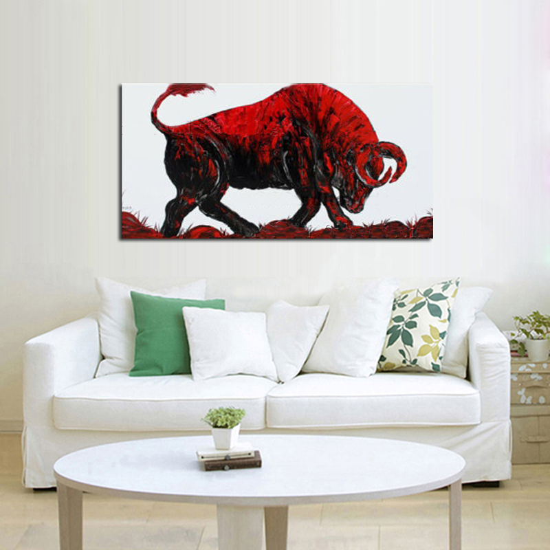 100%Handpainted Abstract Art Bullfighting Oil Painting On Canvas Animal Picture Wall Art Home Decor As Unique Gift
