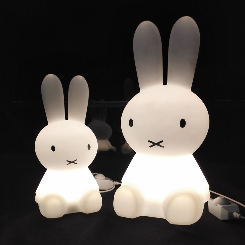 Hot H35cm Rabbit Night Light LED Table Lamp Children Kids Birthday Festival Christmas Gift Dimmable Cartoon Miffy Rabbit Lamp kawaii animal lamp 3d led night light lovely cartoon rabbit multicolor change table home child bedroom decor kids birthday gift